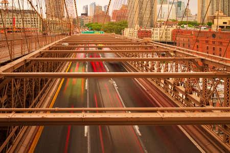 Views of historic Brooklyn Bridge in New York City. Stock Photo