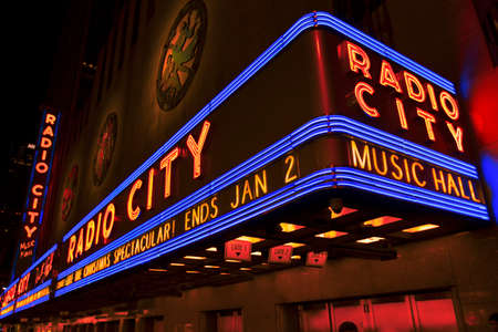 New York City, USA- January 1, 2017: Bright Christmas lights of Radio City Music Hall in New York City at night. Editorial