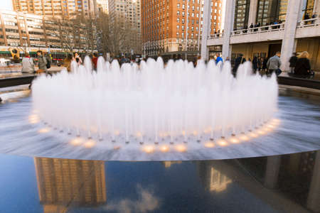 New York City, USA-April 2, 2017: View of Lincoln Centers Revson Fountain, probably the most recognizable destination for visitors and locals.