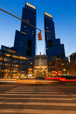 broadway tower: New York City, USA-April 2, 2017: Time Warner Center viewed from Columbus Circle, it had the highest-listed market value in New York City, $1.1 billion, in 2006.