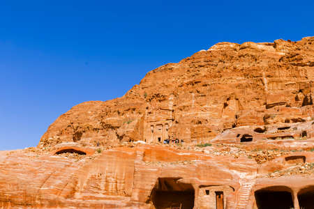 khazneh: Views of the Lost City of Petra in the Jordanian desert.