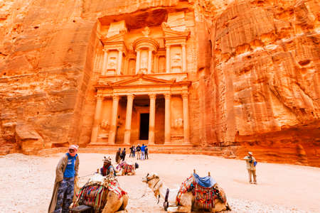Petra, Jordan- March 16, 2017: Views of the Lost City of Petra in the Jordanian desert, one of the Seven Wonders of the World. Editorial