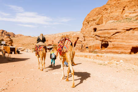 16: Petra, Jordan- March 16, 2017: Views of the Lost City of Petra in the Jordanian desert, one of the Seven Wonders of the World. Editorial