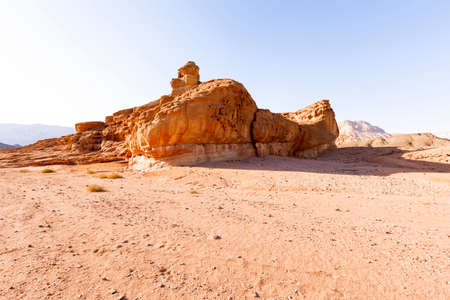 View of Timna Valley in Israeli Negev Desert. Stock Photo