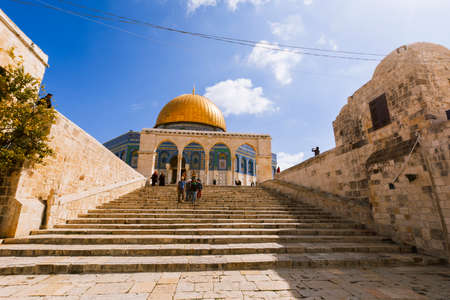 dome of the rock: Jerusalem, Israel- March 14,2017:View of the Dome Of The Rock at Temple Mount in Old Jerusalem, the third holiest place in Islam.