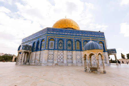 spiritual architecture: Jerusalem, Israel- March 14,2017:View of the Dome Of The Rock at Temple Mount in Old Jerusalem, the third holiest place in Islam.
