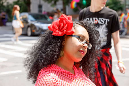 New York City, USA-June 25, 2017: LGBTQ participants of the NYC Pride March. Gay Pride events occur throughout the month of June, culminating with the March along the 5th Avenue. Publikacyjne