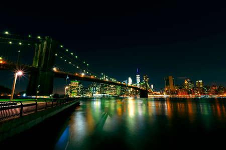 Bright lights of New York City at night.