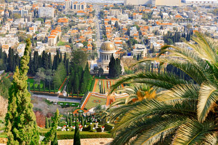 Haifa, Israel-March 13, 2017: Street view of the Mediterranean Port of Haifa in Israel from the top of Mount Carmel. Editorial