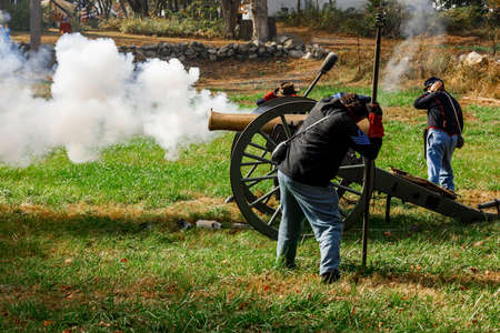 Coventry,RI,USA-October 28, 2017: Unknown local residents participating in a Civil War Era encampment and skirmish re-enactments. Editorial
