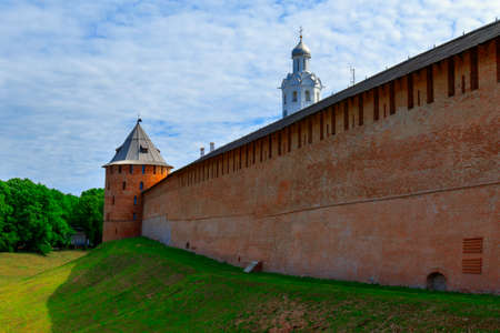Veliky Novgorod, Russia-June 8,2016:Novgorod Kremlin stands on the left bank of the Volkhov River. The first reference to fortifications on the site dates to 1044, with additional construction taking place in 1116. Editorial