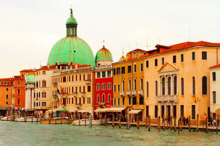 Venice, Italy-April 1, 2013: Street views of canals and ancient architecture of Venice, Italy. Editorial