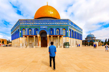 Jerusalem, Israel- March 14, 2017: View of the Dome Of the Rock- Islamic shrine located on the Temple Mount in the Old City of Jerusalem.