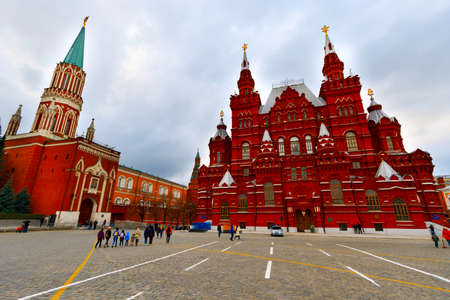 MOSCOW, RUSSIA - The Kremlin is a fortified complex at the heart of Moscow, overlooking the Moskva River to the south, Saint Basils Cathedral and Red Square to the east, and the Alexander Garden to t