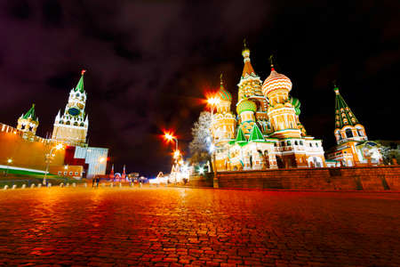 The Kremlin during night with lights