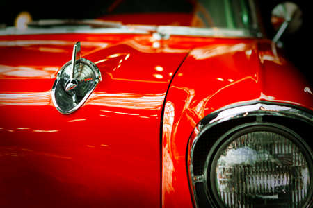 Close-up view of the old restored classic car. Reklamní fotografie