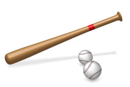 Baseball bat and two balls on white  photo