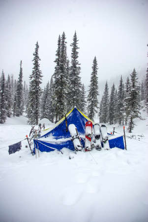 tent after a snowfall photo