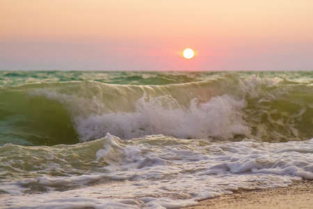 Seashore and waves on a sunset background.