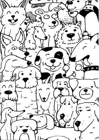 Black and White with a lot of dogs.  イラスト・ベクター素材