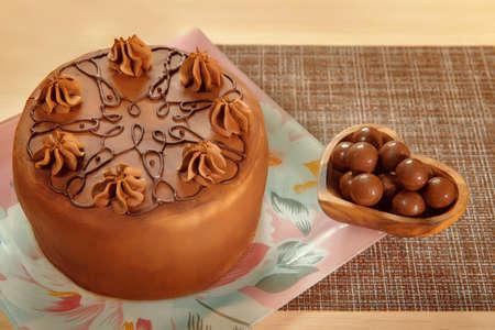Chocolate sponge cake with banana filling. Banana Island. 写真素材