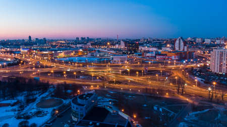 Road junction early in the morning. Sunrise Minsk Belarus Shooting a quadcopter.