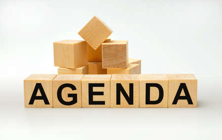 Wooden blocks with the word AGENDA. Business concept