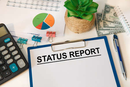 Text sign showing Status Report. Conceptual photo document relating to a situation of something such as a project Clipboard paper.