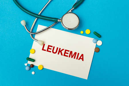 Card with text LEUKEMIA, pills and stethoscope. Medical concept.