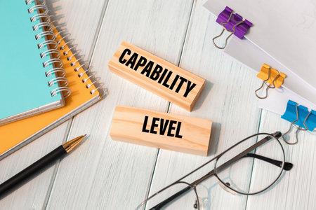 Capability level - words written on wooden blocks near office supplies Foto de archivo