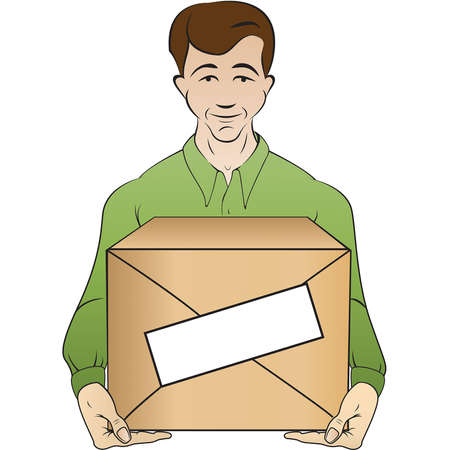yong: yong man holds box Illustration
