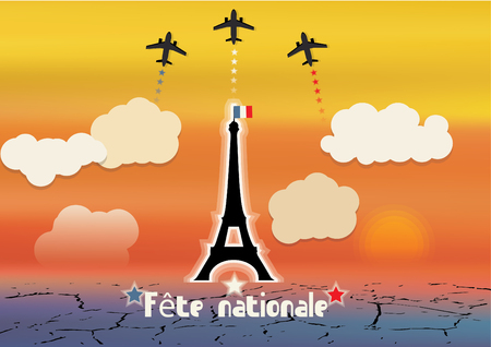 Vector illustration,flyer,banner or poster for the French National Day,with text Fete nationale translation in English: National Day or National Celebration.