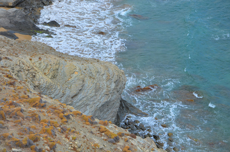 mediteranean: Blue sea against cliffs
