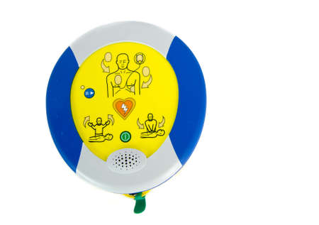 Automated external defibrillator or AED isolated on white. Stock Photo