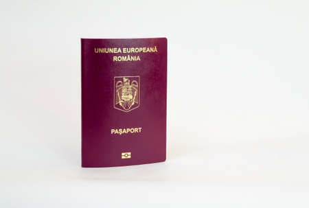 Biometric romanian passport - isolated on white 스톡 콘텐츠