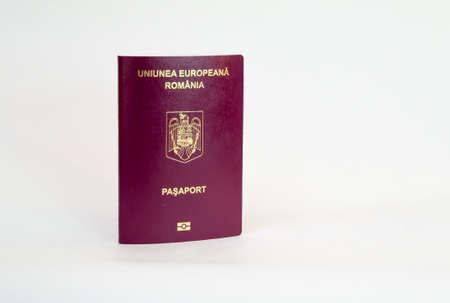 Biometric romanian passport - isolated on white Foto de archivo