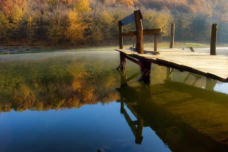 woods lake: bella mattina d'autunno in riva al lago nei pressi di un bosco colorato arancione