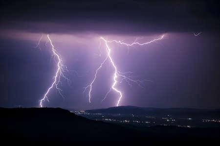 Lightning strike on a stormy night Stock Photo - 15827428