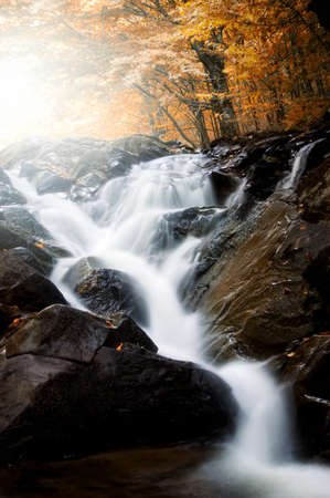 Waterfall in a forest in autumn with sunshine Stock Photo - 17779422