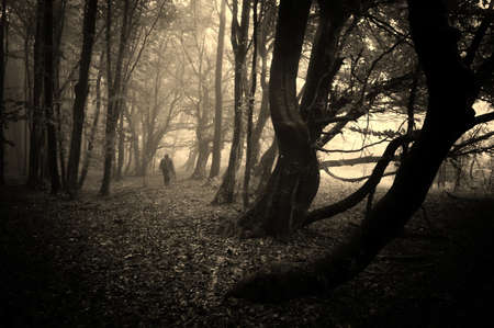 Spooky man walking in a dark eerie forest with fog