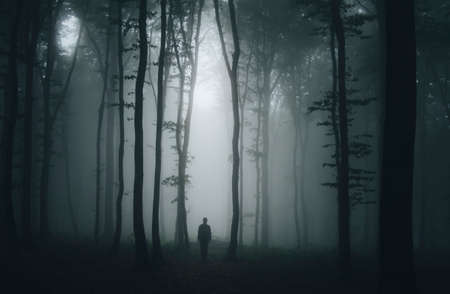 Man in dark mysterious forest with fog