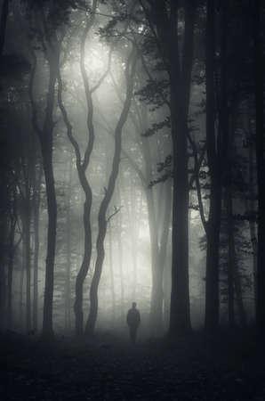 Pionowe zdjęcie sylwetka mężczyzny w ciemnym nawiedzonym lesie z mgły