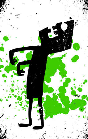 speckled: cartoon zombie silhouette with grunge texture and green splash Illustration