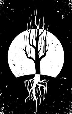moonrise: Tree with big roots at night vector Illustration