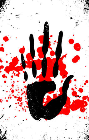 hand print and blood splatter, murder concept creative editable vector with grunge texture