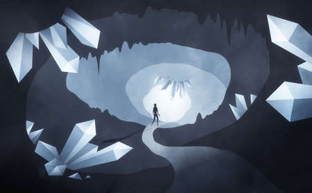 Crystal cave illustration. Underground cave with man exploring. Mysterious underground crystal cave illustration Stock Photo