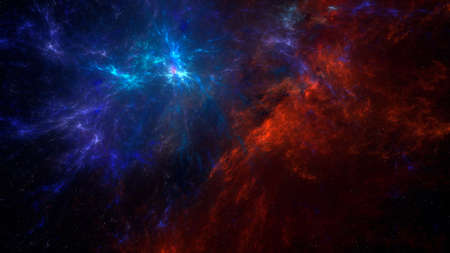 Abstract sci-fi space background illustration with red and blue nebula. Fantasy space illustration with colorful gas clouds