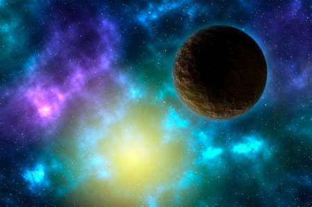 Rocky planet in space with stars and sun rising. Sci-fi space background with nebula and planet Stock Photo