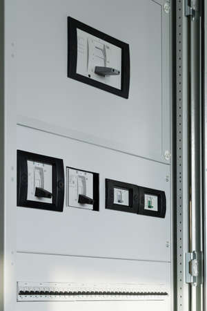 busbar: electrical Cabinet with breakers closed protective panels to protect people from touching electrical components