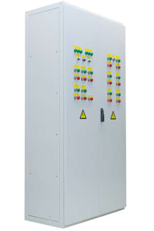 The shield or Cabinet power electric outdoor performance on isolated white background. The two-door. On each door are located device management and alarm systems. Switches and light bulbs. Stock Photo